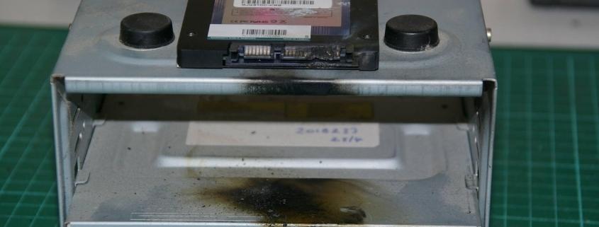 Charred SSD Hard Drive